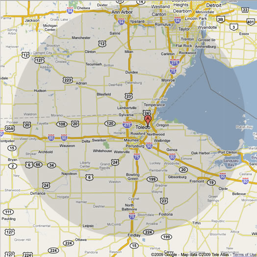 Corporate Cleaning Company - North west ohio map